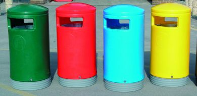 Outdoor Hooded Top Litter / Recycling Bins